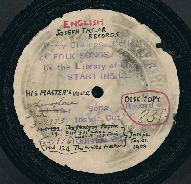 Label from Library of Congress disc copy made in 1940 from Grainger's original wax cylinder recordings. From the British Library Sounds website.